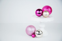 pink, fuchsia, silver, gold, ornaments for Christmas