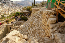 A stepped stone structure in the Area G of the City of David from the north.