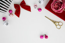 bow, presents, gifts, stripes, flower, scissors, bell, pink, fuchsia, gold, silver, ornaments, Christmas, white background, stand, decorations