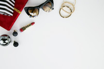 lipstick, bracelets, sunglasses, presents, ornaments, Christmas, red, gold, black, white