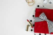 lipstick, earrings, bracelets,  makeup, presents,  polka dots, gold, red, black, white, white background