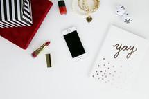 Christmas gift, lipstick, presents, earrings, jewelry, gold, red, bells, polka dot, journal