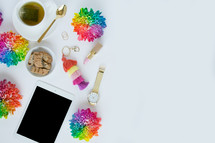 rainbow flowers, iPad, watch, tea, lipstick, rings