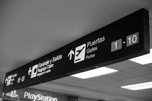 Airport gates signs in Panama.