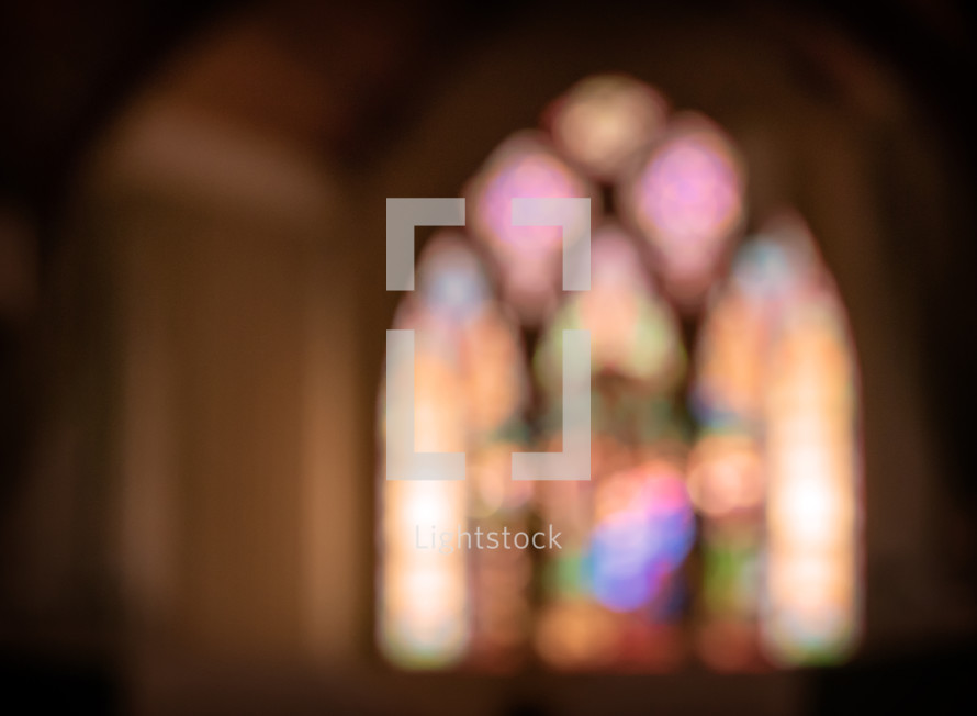 blurred stained glass sanctuary window