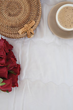 red roses and basket