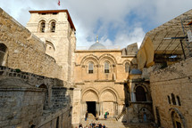 The Holy Sepulcher facade and bell tower.