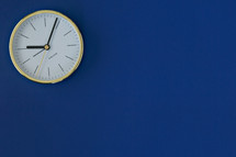 clock on a blue background