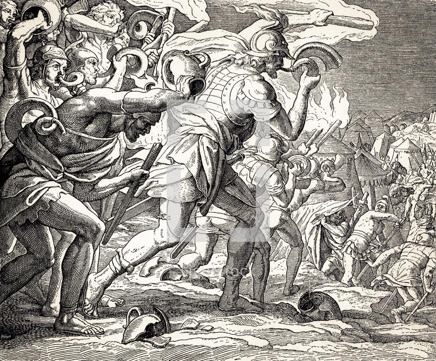 Gideon Defeats the Midianites, Judges 7:16-21
