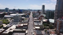 Aerial view of Downtown Nashville and Broadway Street.
