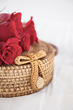 red roses on a basket