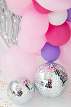 disco balls and balloons