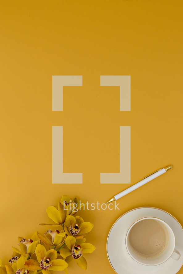 yellow orchids on a yellow background and latte