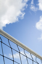 top of a volley ball net
