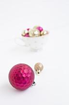 fuchsia and gold ornaments