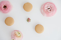 pink flowers and macaroons