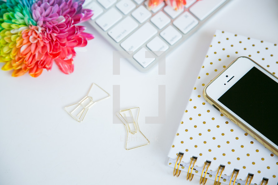 rainbow, flowers, computer, keyboard, clips, gold,  journal, white background