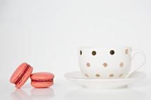 macaroons and polka dot coffee mug