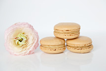 pink flower and macaroons
