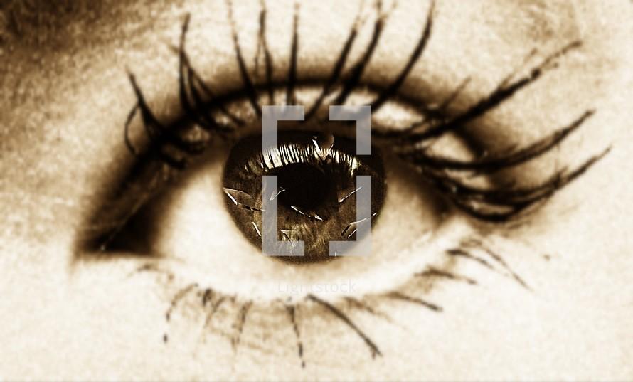 female eye - shattered glass