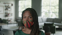 African American woman in a face mask