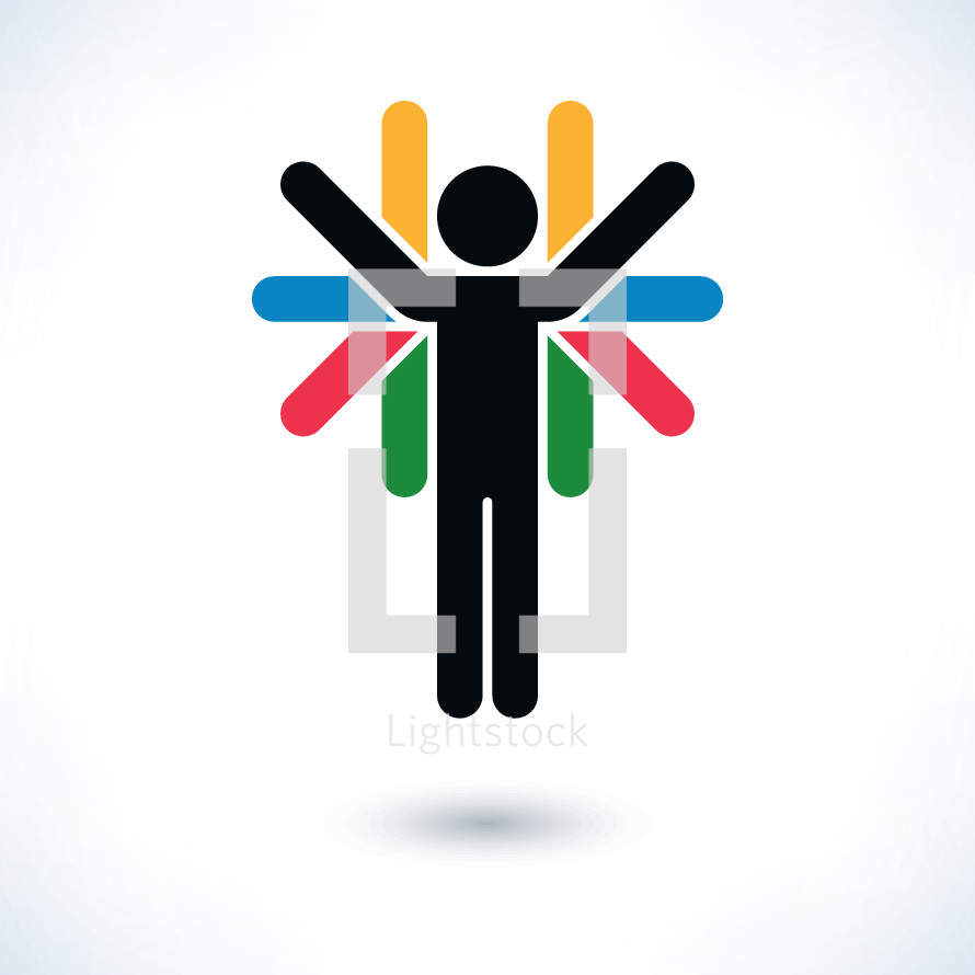 Person raised arms. Logotype human figure with many hands in flat style. Graphic element for design saved as an vector illustration in file format EPS