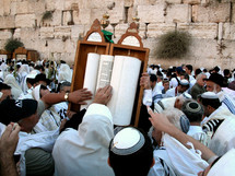 Men touching a Torah Scroll at the Western Wall.