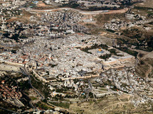 Aerial view of the Old City of Jerusalem from southwest.
