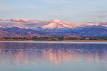 Sunrise on Long's peak and McIntosh Lake Colorado