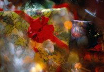 vintage under the Christmas tree with bokeh