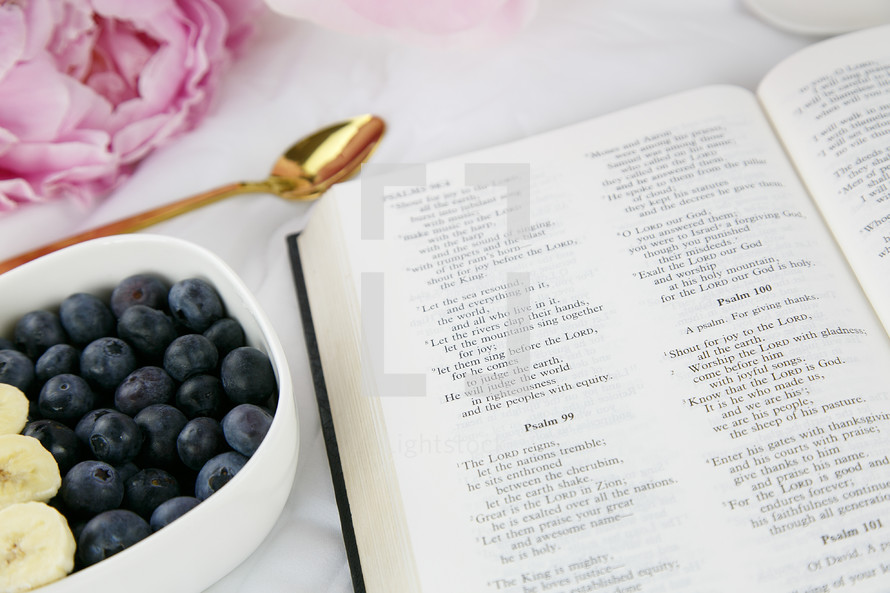 open Bible and bowl of fruit