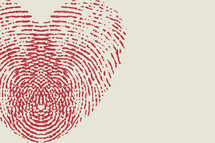 fingerprint heart in red