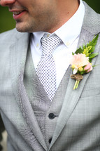 Happy groom outdoors