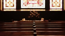 distressed church windows, ceiling, interior, and pews