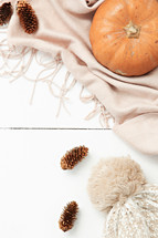 pine cones, scarf, and pumpkin on a white background