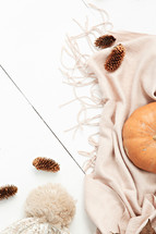 pine cones, scarf, hat, and pumpkin on a white wood background