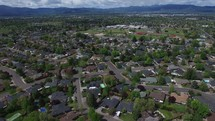 a drone flying over a neighborhood