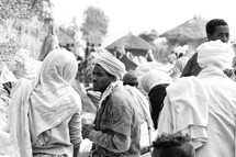 people at a crowded market in Ethiopia