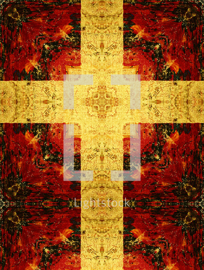 tapestry canvas effect cross gold red black, holy week, easter weekend