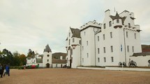 Castle in Scotland and tour bus
