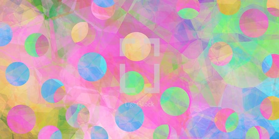 pink peach green dots on polygonal wallpaper
