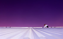 distant bride and groom on a roof under a purple sky