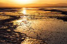 sunset over salt lakes in Ethiopia