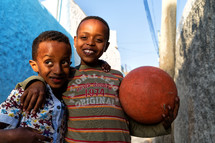 children in ethiopia africa with a ball