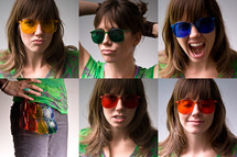 photo booth shots of a woman in sunglasses