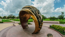 ring monument on a college campus