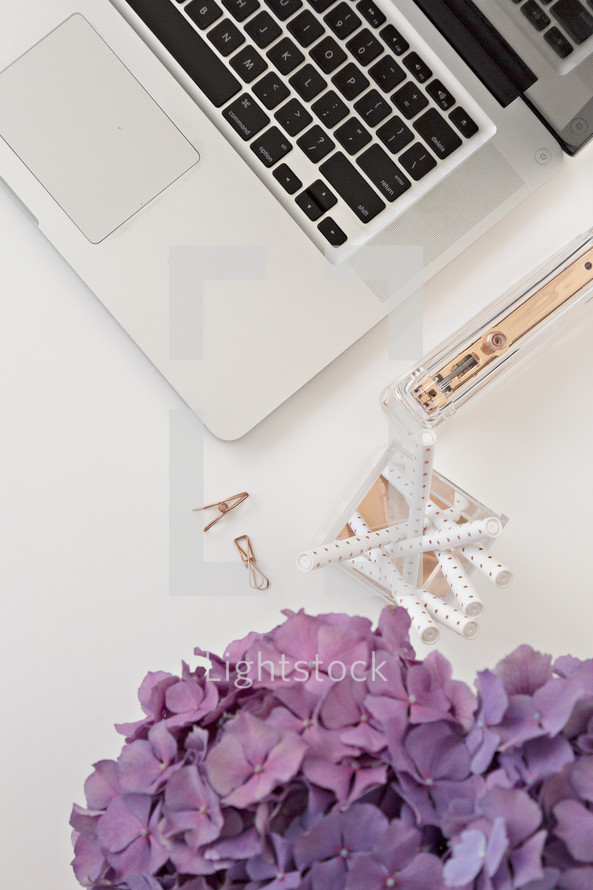 laptop computer and vase of hydrangeas on a desk