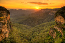 Sunset over the Blue Mountains and Kangaroo Valley.