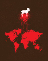 lamb, Lamb of God, Jesus, Blood Shed, Sacrifice, icon, World map, map, Salvation, Redemption, red, Splatter
