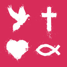 Paint spattered Christian symbols pack.